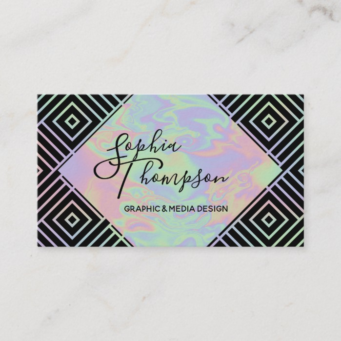 Modern Holographic Symmetric Pattern Business Card