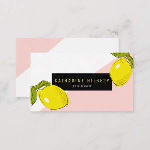 Modern Lemon Pink White Block Business Card