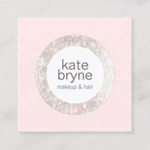 Modern Light Pink Sequin Beauty  Salon Square Business Card