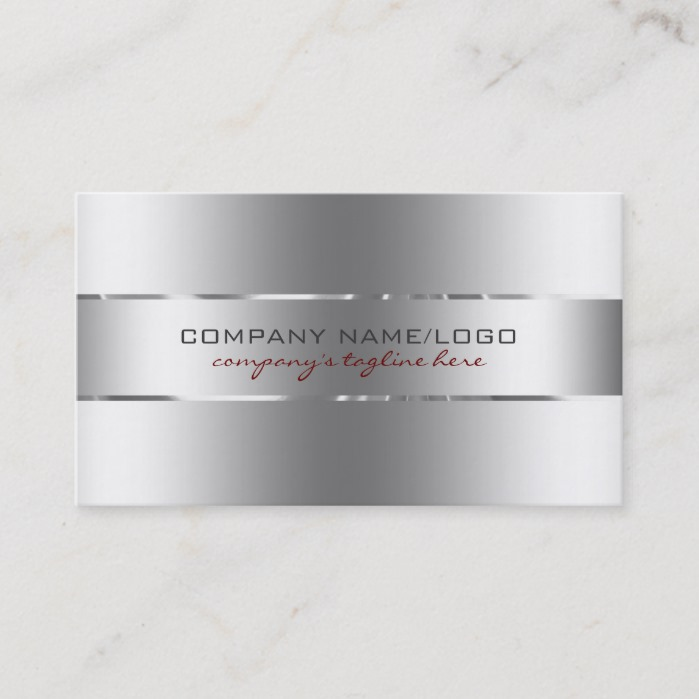 Modern Metallic Silver Design Stainless Steel Look Business Card