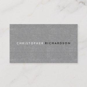 MODERN & MINIMAL on GRAY LINEN Business Card