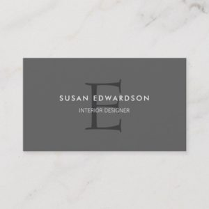 Modern minimalist dark gray professional monogram business card