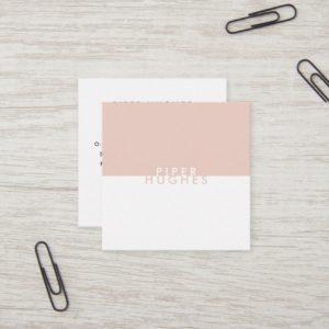 Modern Minimalist Square Business Cards   Blush