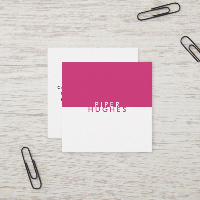 Modern Minimalist Square Business Cards | Magenta