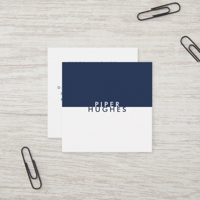 Modern Minimalist Square Business Cards | Navy