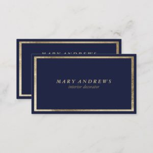 Modern navy blue faux gold interior designer business card