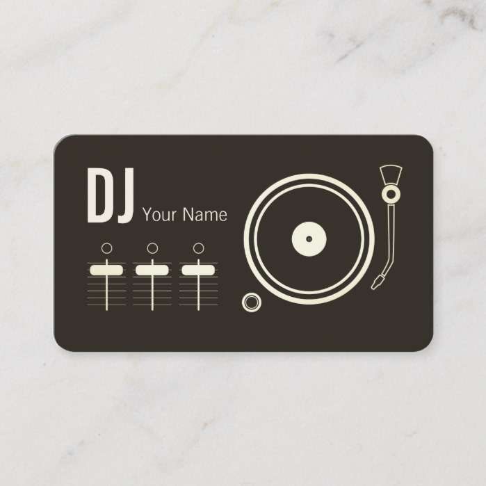 Modern professional DJ record player cover Business Card