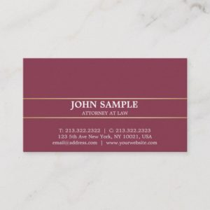 Modern Professional Elegant Bordeaux Attorney Business Card