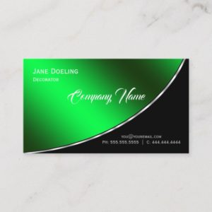 Modern Professional Elegant Bright Green Business Card