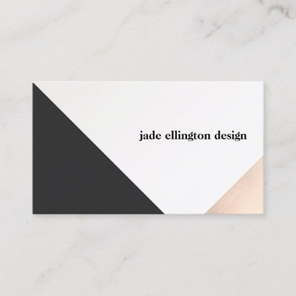 Pink Fashion Hairdresser Business Card: Modern Rose Gold And Black Abstract Geometric Business