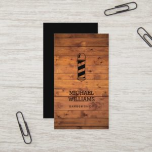 Modern Rustic Wood Pole Barber Shop Business Card