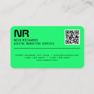Modern style professional neon cover green business card