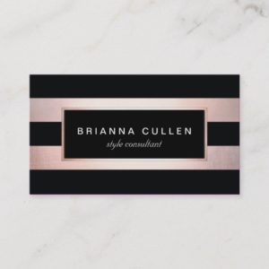Modern Stylish Rose Gold Black Striped 2 Business Card