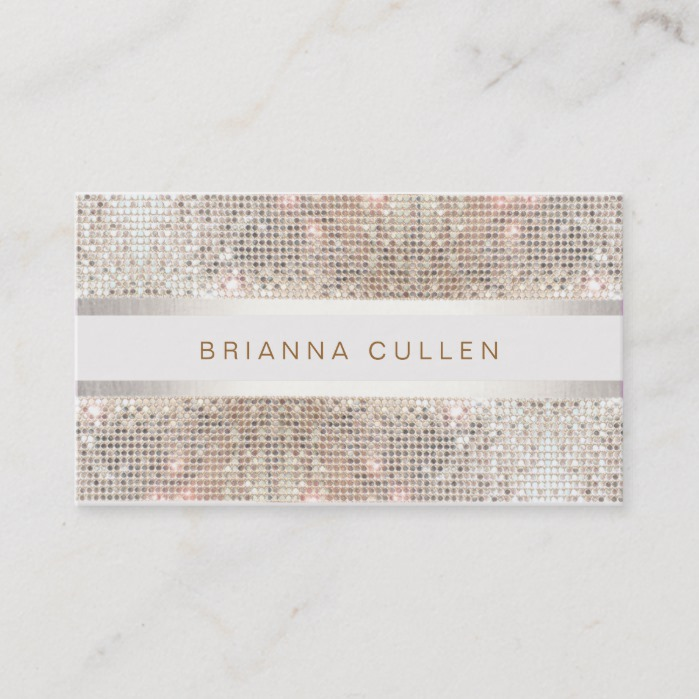 Modern Stylish Stripes Silver Sequin Business Card