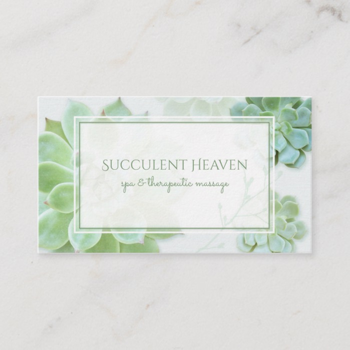 Modern Succulents Botanical Business Cards