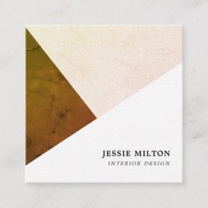 Modern Texture Geometric Interior Designer Square Business Card