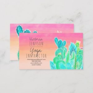 Modern tropical exotic cactus illustration yoga business card