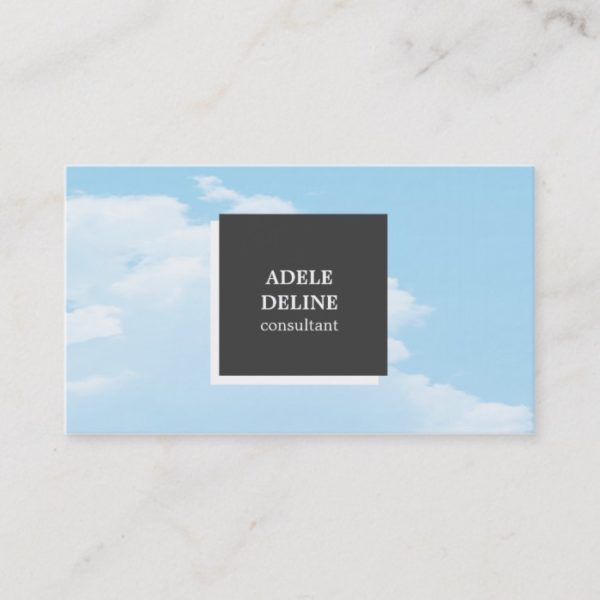 Modern Unique Blue Grey Interior Designer Business Card