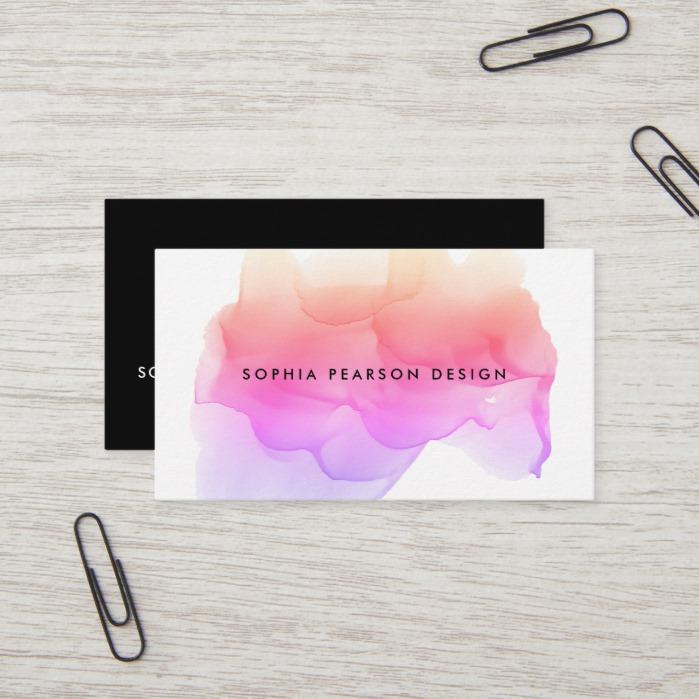 Modern Watercolor Blot Business Card