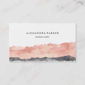 Modern Watercolor Splash | Rose and Black Business Card