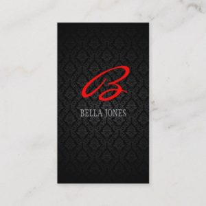 Monogram Damask Design Business Card