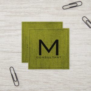 Monogram Elegant Modern Green Canvas Square Business Card