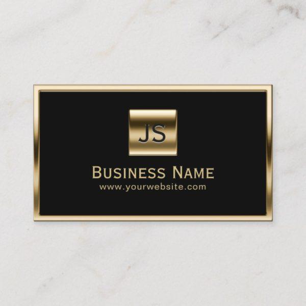 Monogram Initials Gold Framed Professional Dark Business Card