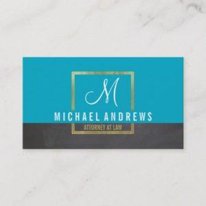 MONOGRAM LOGO modern smart gold box aqua charcoal Business Card