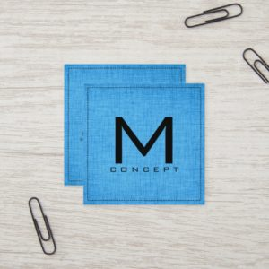 Monogram Professional Elegant Modern Blue Wood Square Business Card