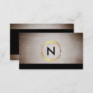 Monogram Wood Designer Black Business Card