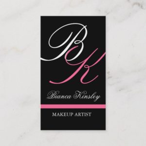 Monograms Business Cards Makeup Artist Pink