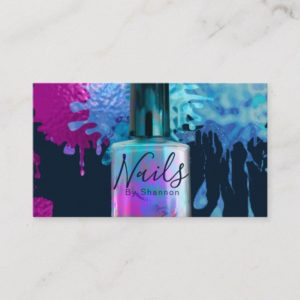 Nail Technician Colourful Splatter Design Business Card