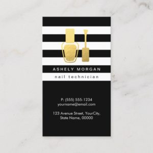 Nail Technician Gold Polish Bottle B&W Stripes Business Card