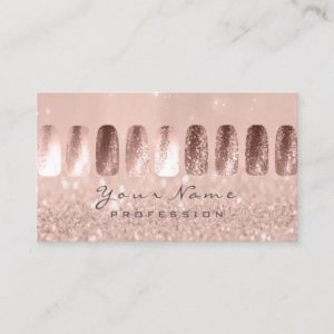 Nails Art Glitter Skinny Pastel Pink Rose Business Card