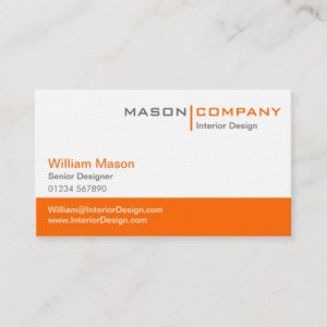 Orange & White Corporate Business Card