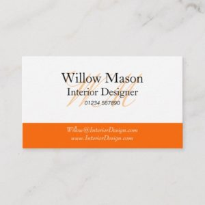 Orange & White Monogram Business Card