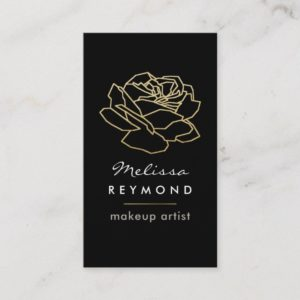 outlined rose flower, makeup beauty floral business card