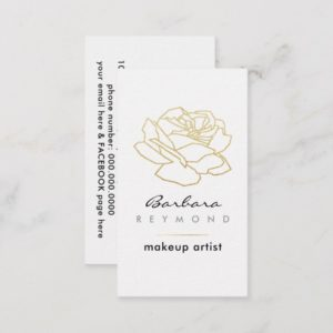 outlined rose flower, makeup beauty floral white business card