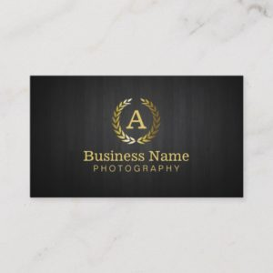 Photographer Gold Monogram Photography Business Card
