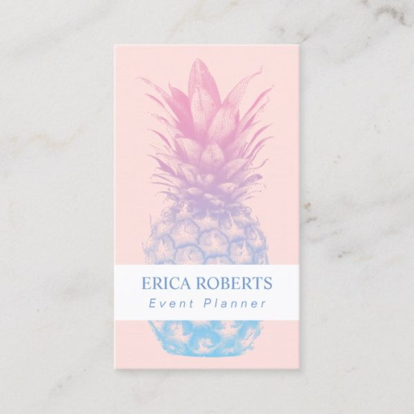Pineapple Elegant Pink & Blue Event Planner Business Card