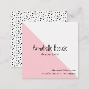 Pink Geometric Modern Girly Design Square Business Card