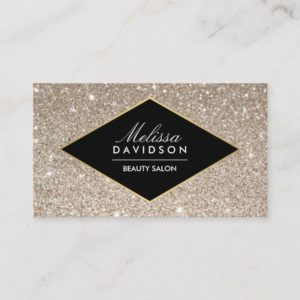 Platinum Glitter and Glamour Beauty Business Card