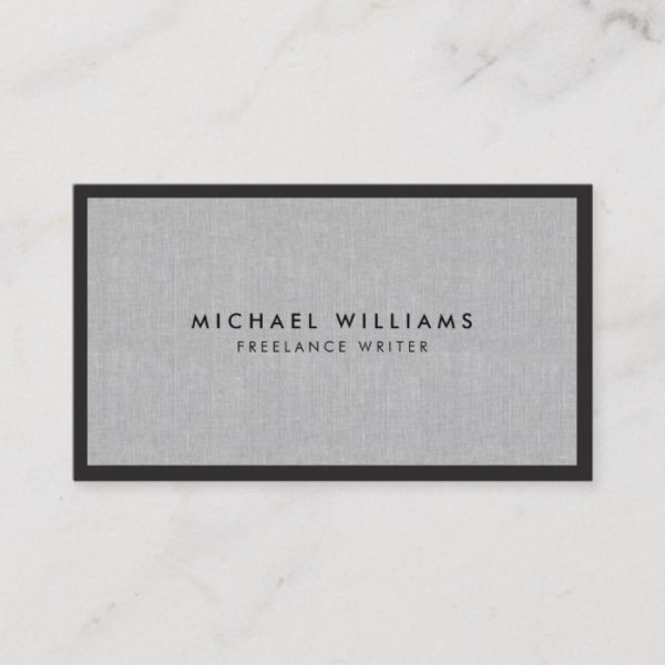 Professional Black and Gray Linen Business Card