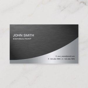 Professional Elegant Metal Modern Plain Black Business Card