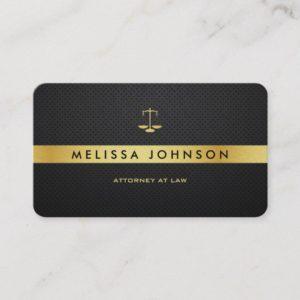 Professional Elegant Modern Black & Gold Attorney Business Card