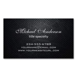Professional Elegant Modern Black Scratched Metal Magnetic Business Card