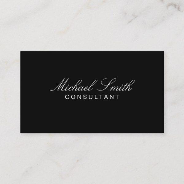 Professional Elegant Modern Plain Black Simple Business Card