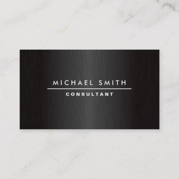 Professional Elegant Modern Plain Metal Black Business Card