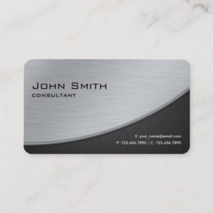 Professional Elegant Modern Silver Rounded Corners Business Card