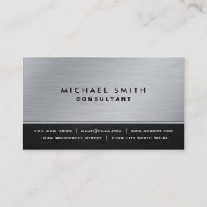 Professional Elegant Plain Black Silver Modern Business Card